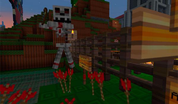 imagen donde vemos a un esqueleto persiguiendo a un jugador, en un mundo decorado con el paquete de texturas zekocraft 1.8.