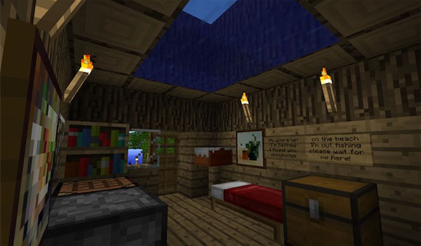 imagen del interior de la única vivienda que hay en toda la isla.