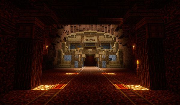 """imagen del interior de las minas de oro. Al fondo se ve la entrada al """"Saloon""""."""