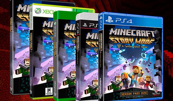 imagen donde podemos ver las carátulas del formato físico de Minecraft: Story Mode, para distintas plataformas.