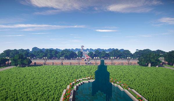 imagen donde vemos Lafayette Square, desde la recreación de la Casa Blanca.