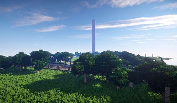 imagen donde vemos a media distancia el Monumento a Washington, recreado en Minecraft.