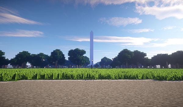 otra imagen que nos muestra el obelisco Monumento a Washington recreado en Minecraft.