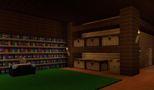 imagen del interior de una vivienda en Minecraft, donde vemos librerías y un almacén, decorado con las texturas xenocontendi 1.8.
