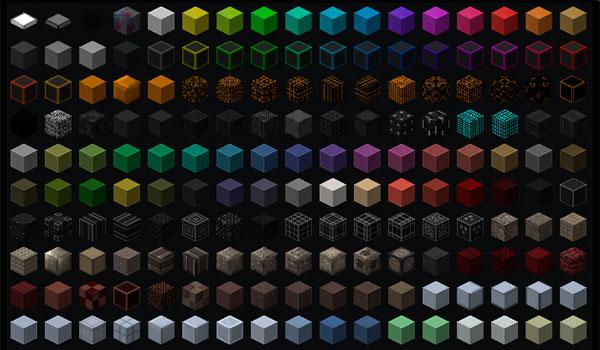 imagen de ejemplo donde podemos ver una pequeña parte de los nuevos bloques decorativos que añade el mod ztones 1.7.10.