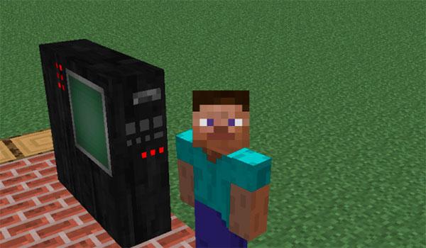 imagen donde vemos al protagonista de Minecraft, Steve, frente a un objeto que simula una unidad de computación.