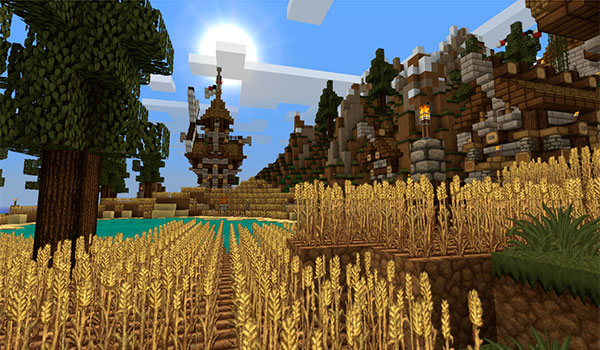 imagen donde vemos un campo de trigo y edificaciones diversas, todo ello decorado con las texturas persistence 1.12 y 1.11.