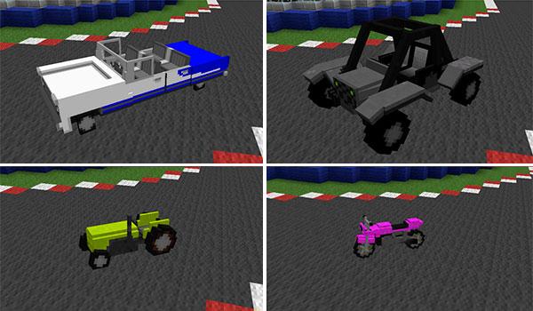 imagen donde podemos cuatro ejemplos de vehículos que podremos fabricar con este mod.