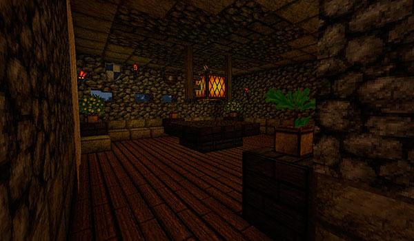 imagen del interior de un edificio de piedra, decorado con las texturas creative one's 1.8.