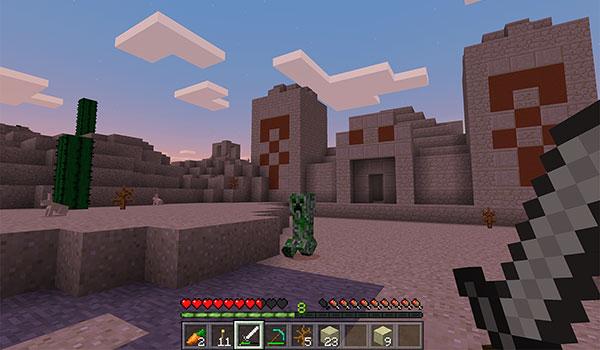imagen donde vemos a un jugador delante de los templos del desierto, añadidos en esta última actualización 0.13.0.