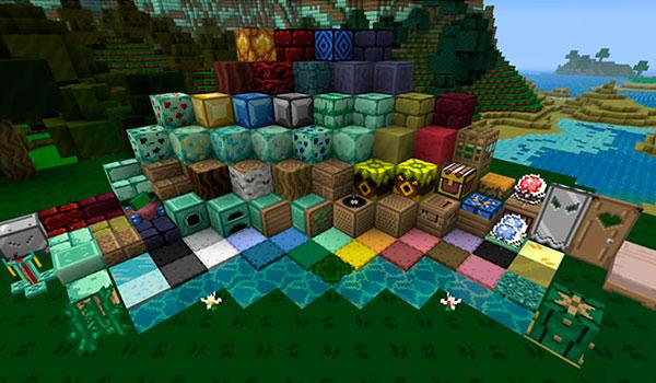 imagen donde podemos ver la gran mayoría de bloques y objetos con las nuevas texturas de Kakariko Village 1.8.
