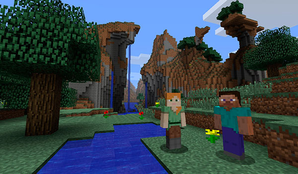 imagen donde vemos a los dos protagonistas de Minecraft, Steve y Alex, presentado Minecraft para Wii U.