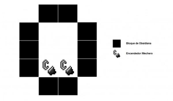 imagen donde vemos la forma que debe tener el portal en Minecraft.