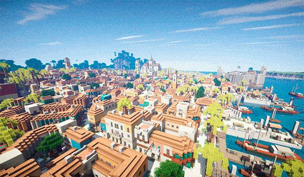 imagen aérea de la recreación en Minecraft de la ciudad de la Habana de Assassin's Creed IV.