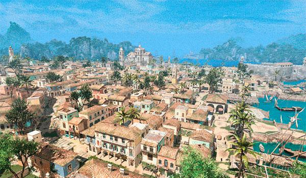 imagen aérea de la ciudad de la Habana que aparece en el videojuego Assassin's Creed IV.