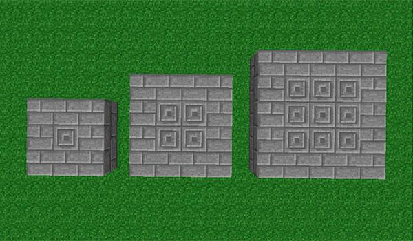 imagen donde vemos tres estructuras que podemos construir para crear el portal a las mazmorras del mod runic dungeons 1.7.10.