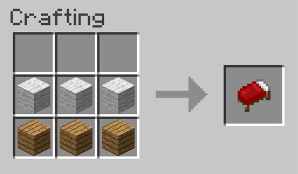 imagen donde vemos la forma en que se fabrica una cama en Minecraft.