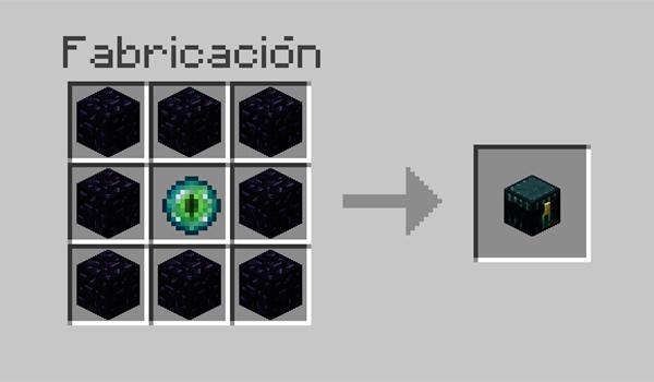imagen donde vemos la disposición correcta de materiales para hacer un cofre de Ender en Minecraft.