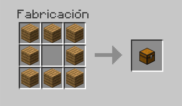 imagen donde vemos los materiales necesarios y su disposición en la mesa de crafteo, para poder fabricar un cofre.