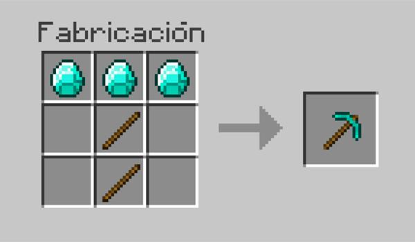 imagen que nos muestra los materiales y la posición correcta de los materiales en la mesa de crafteo, para hacer un pico en Minecraft.