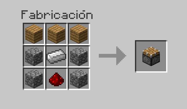 imagen donde vemos las materiales necesarios, así cómo la disposición correcta en la mesa de crafteo, para poder hacer un pistón en Minecraft.