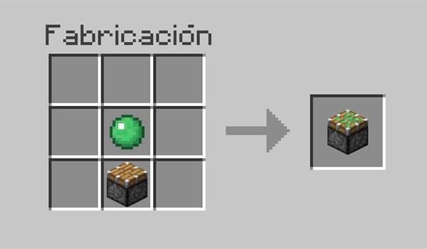 imagen donde vemos los materiales necesarios y su correcta disposición en la mesa de crafteo, para hacer un pistón pegajoso en Minecraft.