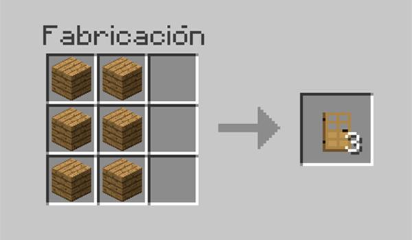 receta para fabricar una puerta de madera o de hierro en Minecraft