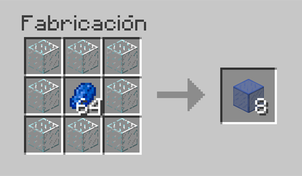 imagen donde vemos el proceso necesario para tintar los cristales en Minecraft.