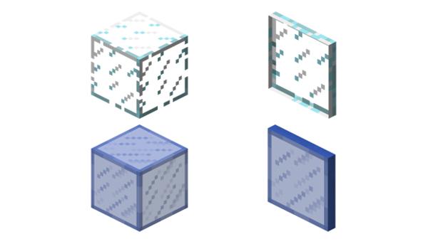 Vidrio, o cristal, en Minecraft