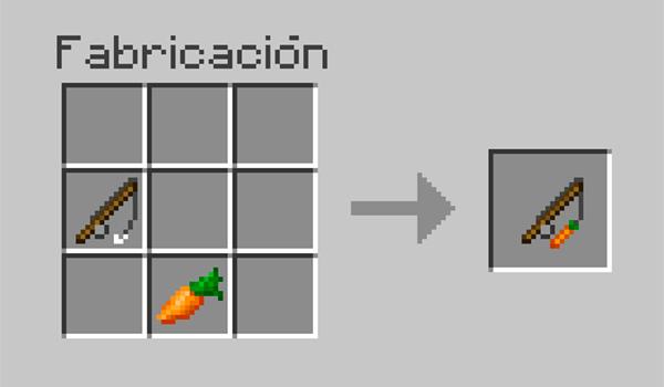 imagen donde vemos la disposición correcta y los materiales necesarios para hacer una caña de pescar con zanahoria.