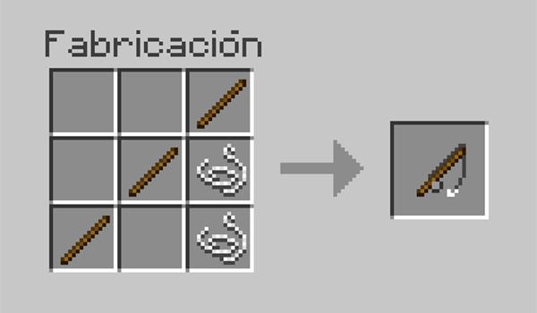 imagen donde vemos los materiales necesarios y la posición correcta de los mismos en la mesa de crafteo, para crear una caña de pescar.