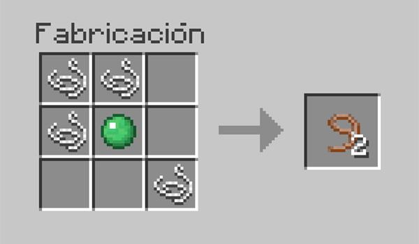 imagen donde vemos la disposición de los materiales necesarios para crear una cuerda en Minecraft.