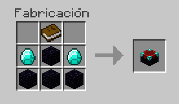 imagen donde vemos los materiales que necesitamos para poder construir una mesa de encantamientos en Minecraft.