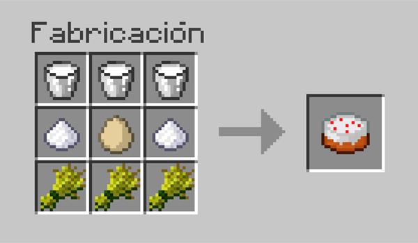 imagen donde podemos ver los distintos ingredientes necesarios y su disposición en la mesa de crafteo, para poder hacer un pastel en Minecraft.