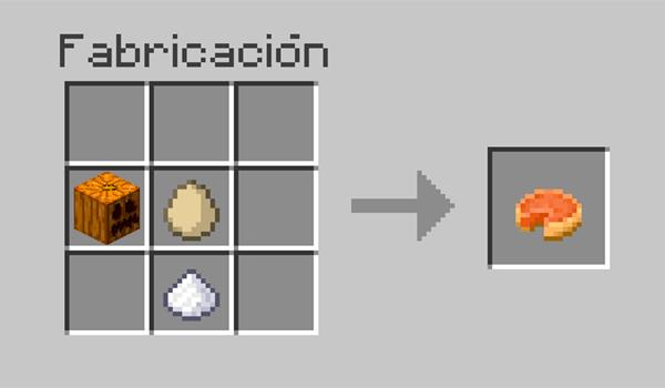 imagen donde vemos los ingredientes necesarios para hacer una tarta de calabaza en Minecraft.