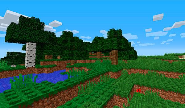 imagen donde vemos un paisaje de Minecraft con las texturas que simulan las piezas de LEGO.