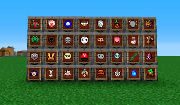 imagen donde vemos una pared donde están expuestas todas las máscaras que añade el mod majoras maskcraft 1.7.10.