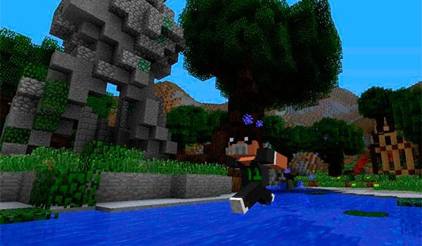 imagen donde vemos a un jugador de Minecraft utilizando la habilidad de correr sobre el agua, que añade el mod naruto 1.7.10.
