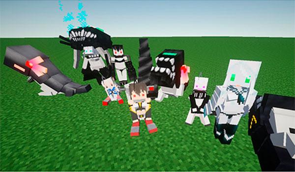 """imagen donde vemos algunas de las """"chicas barco"""" del juego Kantai Collection, en versión Minecraft."""