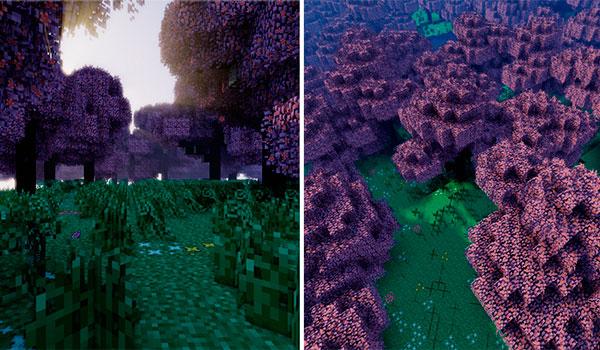 imagen donde vemos una imagen compuesta por dos imágenes que muestran el bioma New Sakura, añadido por el mod sushicraft 1.7.10.