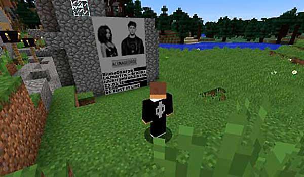 imagen donde vemos un jugador de Minecraft mirando el cartel que anuncia el concierto de AlunaGeorge en Minecraft.