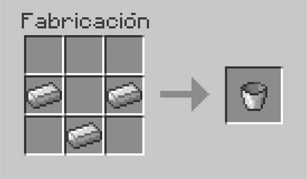 imagen donde vemos los materiales que se necesitan para crear un cubo o balde en Minecraft.