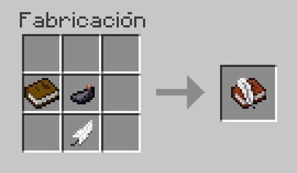 imagen donde vemos los objetos necesarios y la disposición correcta de materiales en la mesa de crafteo para hacer un libro con pluma en Minecraft.