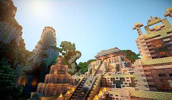 imagen donde vemos la recreación de un templo Maya, utilizando eventime texture pack para Minecraft 1.10 y 1.9.
