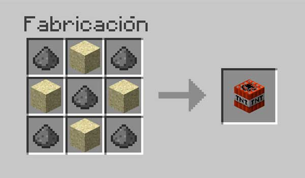 imagen donde vemos los materiales que necesitamos y la correcta colocación de materiales en la mesa de crafteo, para hacer TNT.