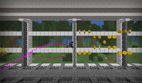 imagen donde vemos a un jugador intentando recoger las monedas que hay en este curioso mapa/minijuego para mMinecraft.