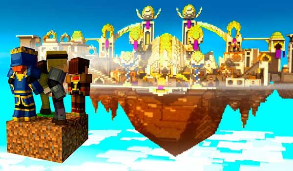 imagen donde vemos a Jesse y sus amigos llegando a la ciudad en los cielos (Sky CIty) del quinto episodio de Minecraft: Story Mode.