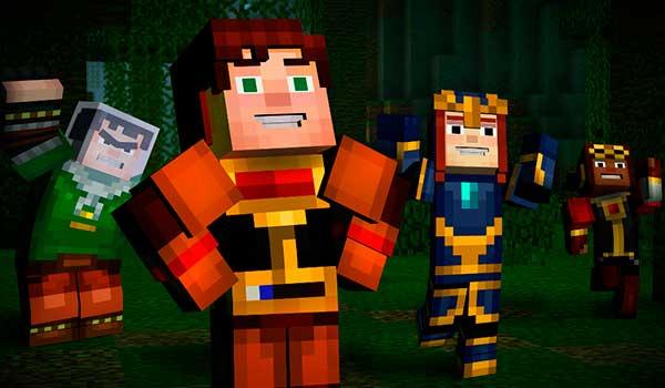 imagen de varios de los personaje de Minecraft: Story Mode saltando de alegría.