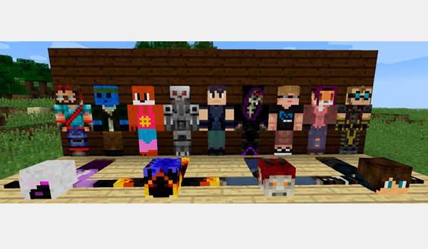 imagen donde podemos ver varias alfombras con las skins de jugadores que han sido aplastado por un yunque en Minecraft.