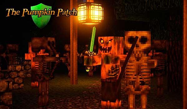 imagen donde podemos ver esqueletos y zombies pigman, decorados con las texturas Pumpkin Patch 1.9 y 1.8.